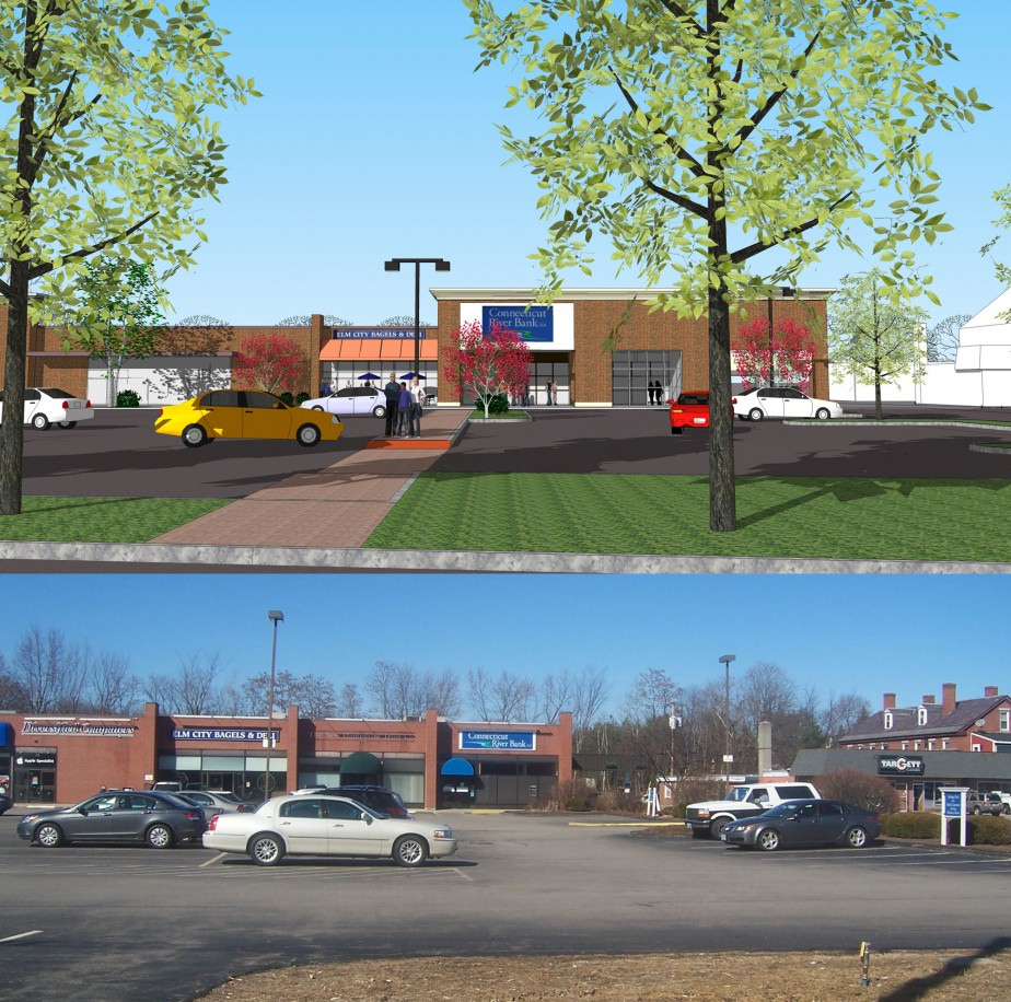 Commercial strip before renovation and architects' sketch